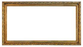 Old vintage golden frame. Old vintage right angled golden frame on a white background, isolated royalty free stock photos