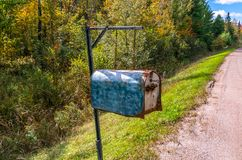 Old vintage roadside mailbox with key, in a rural area during th royalty free stock photos