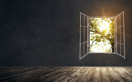 Old vintage room with drawn window and real sunlight. Illustration of old vintage room with concrete wall and wooden floor. Drawn open window with real sunlight Stock Photography