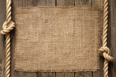 Old vintage rope and planks background Royalty Free Stock Images