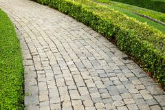 The old vintage rough brick walkway footpath, sidewalk. And shrubs in the garden for street background or texture - construction concept Royalty Free Stock Photo