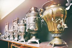 Old vintage Russian samovars. For tea royalty free stock photography