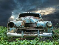 An old vintage rustic baby blue colored car royalty free stock photos