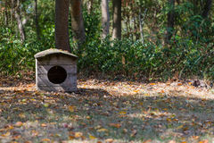 Old vintage rustick uncomfortable dog house in farms garden. In fall season Stock Photo