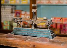 Old vintage scale for traditional Chinese pharmacy store. An Old vintage scale devices to measure weight for traditional Chinese pharmacy store stock image
