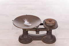 Old vintage scale with weight and feather Stock Photo