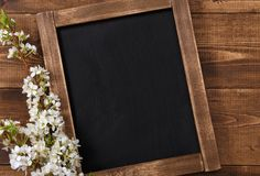 Old vintage school slate with flowers Stock Images