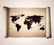 Old vintage scroll with the world map isolated on Royalty Free Stock Image