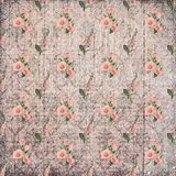 Old vintage shabby faded floral ornament wallpaper stock illustration