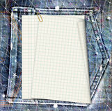 Old vintage sheet on jeans background Stock Photo