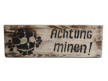 old vintage Shield Achtung Minen dangerous mines WK2 German stock photography