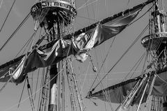 Old vintage ship mast adventure and freedom concept. Stock Photos