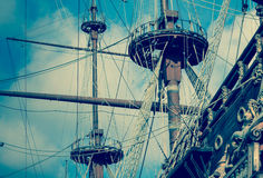 Old vintage ship masts. Retro pirates boat Royalty Free Stock Photo