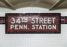 Old vintage sign in the metro at the 34th Street Pennsylvania St Stock Images