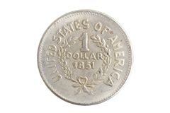 Old vintage silver dollar. Isolated on background Stock Photos