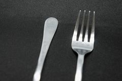 Vintage and classic silver fork and spoon royalty free stock photography