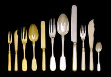 Old vintage silver and golden ware Stock Images