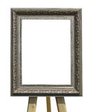 Old vintage silver picture frame on a stand isolated over white. Background Stock Image