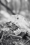 Old Vintage Small-Format Rangefinder Camera. 35mm Vintage Old Retro Small-Format Photo Camera On Old Fallen Wood Tree In Forest. Black And White Photo Royalty Free Stock Photography