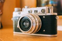 Old Vintage Small-Format Rangefinder Camera, 1950-1960s. Stock Images