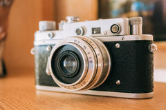 Old Vintage Small-Format Rangefinder Camera, 1950-1960s. Royalty Free Stock Photos