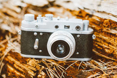 Old Vintage Small-Format Rangefinder Camera, 1950-1960s. Royalty Free Stock Image