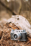 Old Vintage Small-Format Rangefinder Camera, 1950-1960s. Royalty Free Stock Photo