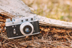 Old Vintage Small-Format Rangefinder Camera, 1950-1960s. Royalty Free Stock Images