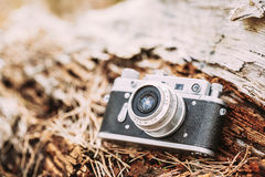 Old Vintage Small-Format Rangefinder Camera, 1950-1960s. Royalty Free Stock Photography