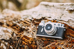 Old Vintage Small-Format Rangefinder Camera, 1950-1960s. Stock Photos