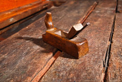 Old vintage smoothing plane angle two Stock Photo