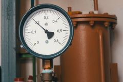 Old vintage soviet manometr of air compressor - measure air pressure Royalty Free Stock Photography