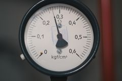 Old vintage soviet manometr of air compressor - measure air pressure Stock Photography