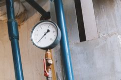 Old vintage soviet manometr of air compressor - measure air pressure Stock Image