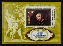 Old vintage soviet postage stamp, art Stock Image