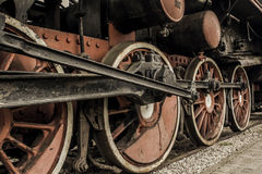 Old vintage steam locomotive train wheels Royalty Free Stock Images