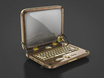 Old vintage steam punk laptop. Perspective view of an old vintage steam punk laptop Stock Photography