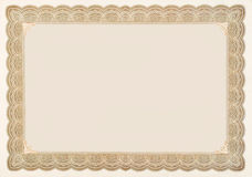 Old Vintage Stock Certificate Empty Boarder. Old stock certificate boarder.  The original content of the certificate has been removed, so just the boarder Stock Photo