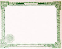 Old Vintage Stock Certificate Empty Border 1914. Blank U.S. Stock certificate issued in 1914.  Most of the certificate has been removed, so just the boarder Royalty Free Stock Image