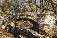 Old vintage stone bridge in Arcadia, Greece. Stock Image