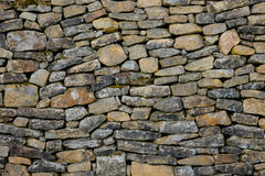 The old and vintage stone wall in a room.  Stock Photo