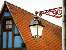 Old vintage street lamp in small city Royalty Free Stock Images