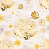 Old vintage style seamless pattern. Background with the bouquet stock illustration