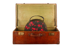 Old vintage suitcase with hand luggage Stock Photos