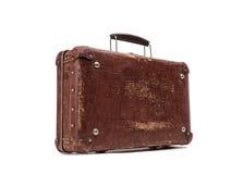 Old vintage suitcase isolated on white background Stock Photography