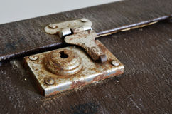 Old vintage suitcase lock Stock Photo