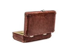 Old vintage suitcase opened front isolated on white Royalty Free Stock Images