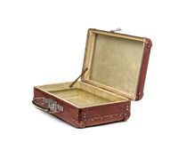 Old vintage suitcase opened front isolated on white Stock Photos
