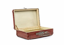 Old vintage suitcase opened front isolated on white royalty free stock photos