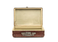 Old vintage suitcase opened front isolated on white Royalty Free Stock Image
